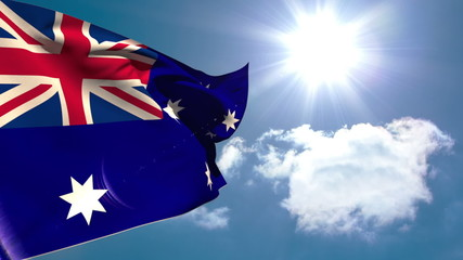 Australia national flag waving