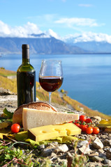 Wine and chese. Lavaux region, Switzerland