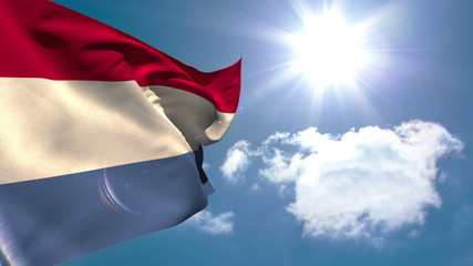 Dutch national flag waving