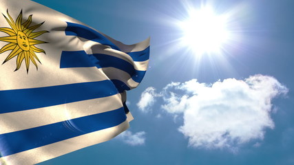Uruguay national flag waving