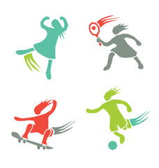 Active sports girls vector set 4