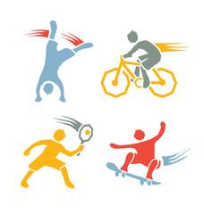 Active sports boys vector set 3