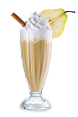 Coffee cocktail with cream and almonds isolated