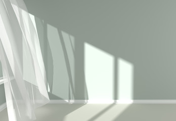 Modern  Room Interior with white curtains and sunlight