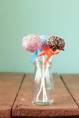 colorful cake pops - chocolate, vanilla and caramel flavors
