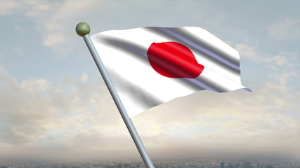 Looping Japanese flag animation with sky background
