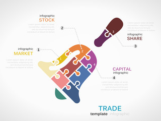 Trade concept infographic template with opening bell