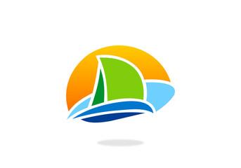 sailing boat abstract vector logo