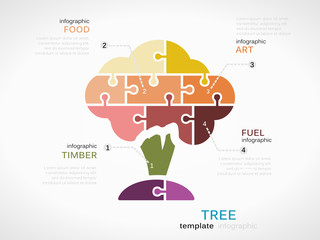 Tree concept infographic template with arbor