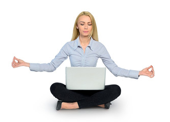 Woman yoga and laptop