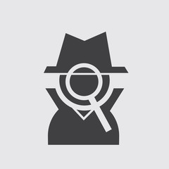 Silhouette private figure icon with magnifying glass