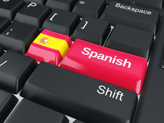 keyboard with spanish flag button
