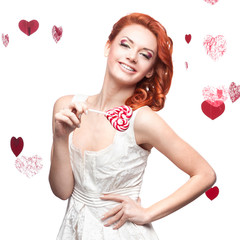 happy red woman holding lollipop