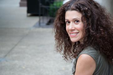 Beautiful brunette smiling