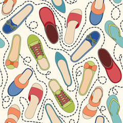 Seamless pattern with colored shoes and dashed lines. Find a