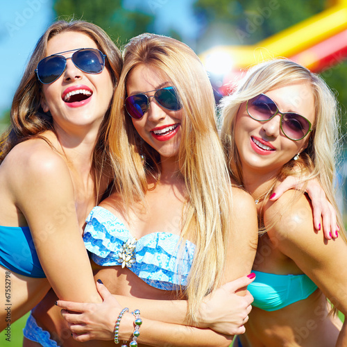 canvas print picture beautiful happy girls on summer party