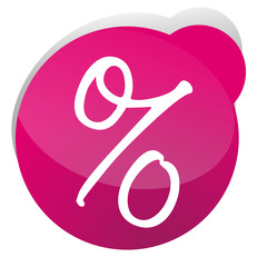 percent sign icon glossy button pink 3d