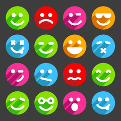 Flat and round smiley icons for your design