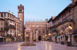 Verona - Piazza Erbe in morning dusk and Porta Leona and Palazzo - 67553715