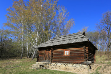 ukrainian wooden house in open-air museum Pirogovo. Kiev, Ukrain
