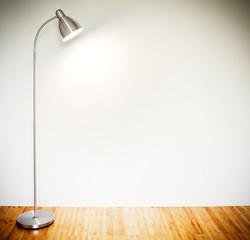 Empty room with modern floor lamp