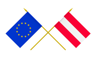 Flags, Austria and European Union