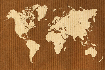cardboard world map