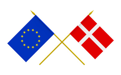 Flags, Denmark and European Union