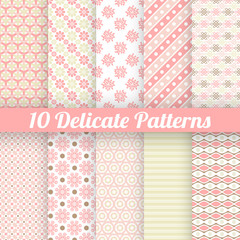 10 Delicate lovely vector seamless patterns (tiling)