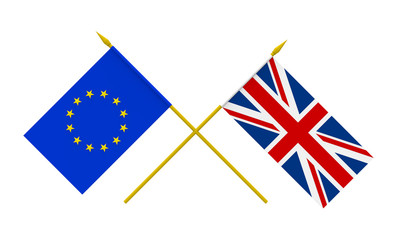 Flags, United Kingdom and European Union