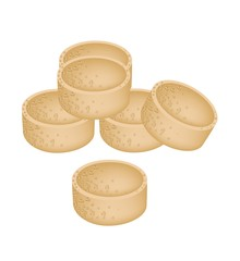 Stack of Millet Cookies on White Background