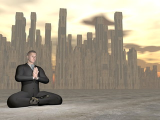Businessman meditation - 3D render