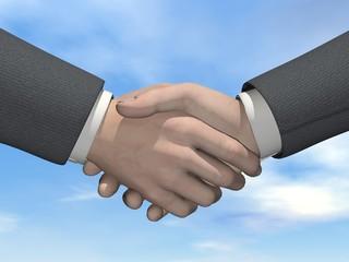 Businessman handshake - 3D render