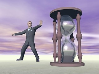 Businessman and hourglass - 3D render