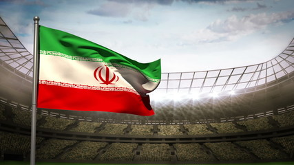 Iran national flag waving on stadium arena