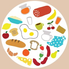 Vector collection of breakfast and lunch Ingredients