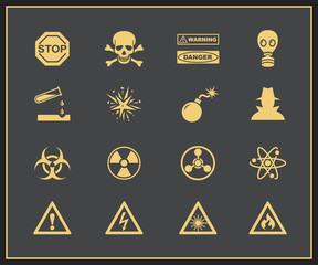 Danger and warning icons
