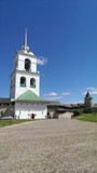 Bell tower in old Pskov town, Russia poster