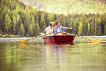 Senior couple on boat