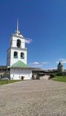 Bell tower in old Pskov town, Russia