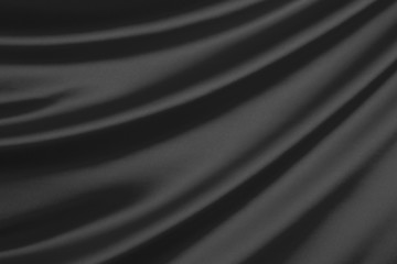 Black silk textile background with copy space