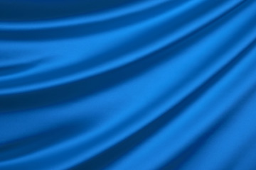 Blue silk textile background with copy space