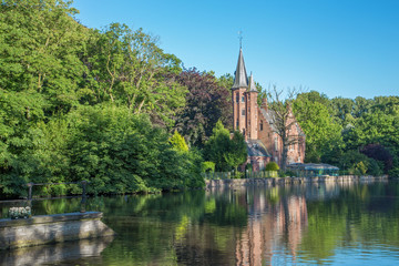 Bruges - Minnewater park in eveing light