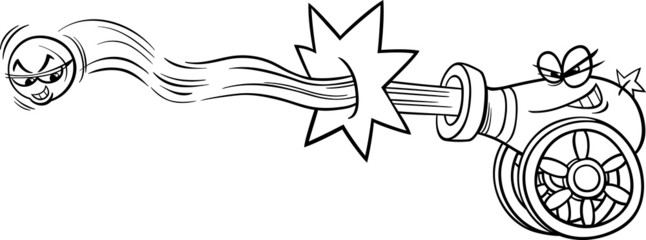firing cannon and cannonball coloring page