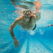 canvas print picture - Freestyle swimming underwater