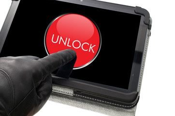 Online mobile unlocking concept with hand wearing black glove po