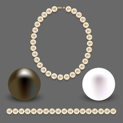 A collection of objects made of pearls on gray background