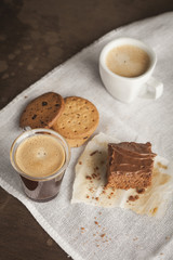 Coffee cup and chocolate cake