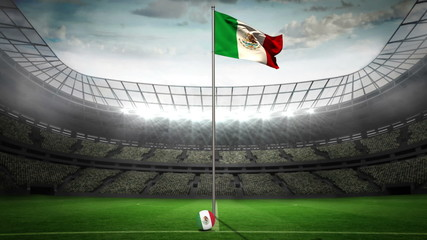Mexico national flag waving on flagpole