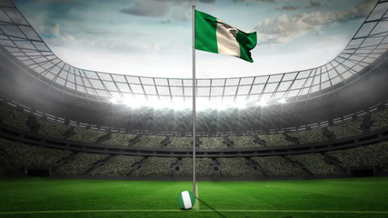 Nigeria national flag waving on flagpole